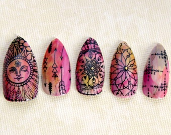 Boho Sunshine Stiletto Nails- Press On Nails- Stiletto Fake Nails- Acrylic Nail- Boho Hippie Free Spirit, Tie Dye Nail, Fake Nail