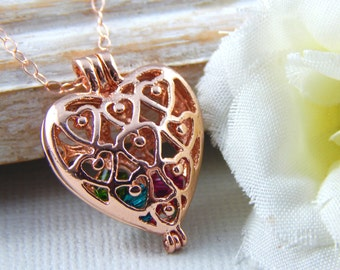 Birthstone Necklace, Rose Gold Filigree Heart Locket With Swarovski Crystal Birthstones