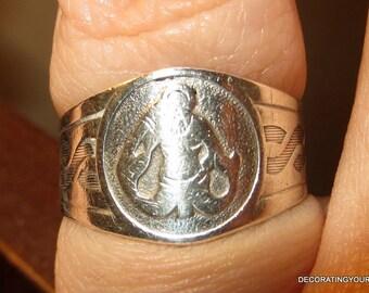 Norway Scandinavian 830 Silver Triton Ring Size 7 8  Adjustable Open Back