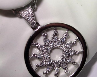 CZ Sun Slider Pendant on Sterling Silver Chain 16 to 18 Inch Cable Chain