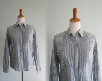 Pretty 90s Chambray Shirt with Tuxedo Bib - Vintage 90s Ralph Lauren Blouse - Vintage 1990s Shirt M
