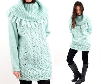 vintage PALE seafoam FRINGE slouch OVERSIZE sweater S-M