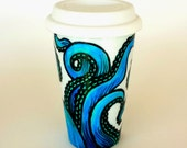 Octopus Travel Mug Ceramic Painted Turquoise Blue Green Sea Creature Kraken Nautical Porcelain Tumbler - READY TO SHIP