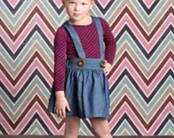Girl's Fall Skirt- Denim Diva Suspender Skirt-From the Fall 2016 Collection by Mellon Monkeys
