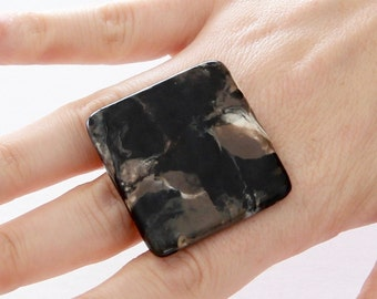 Statement Ring Ceramic Ring Marble ring - ceramics and pottery, unique ring, summer celebrations, handmade ring by StudioLeanne,