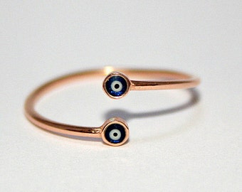Tiny Evil Eye Ring ,  Sterling Silver Ring  , Gold Evil Eye Ring , Adjustable Ring , Knuckle Ring , Stackable Ring , Protection Ring