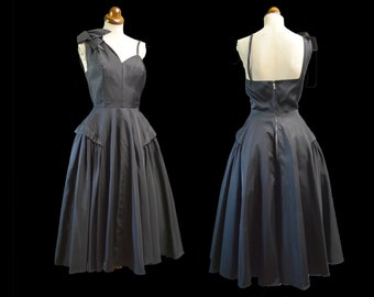 Original Vintage 1950s Black Gabardine Cocktail Dress - Small - FREE SHIPPING WORLDWIDE