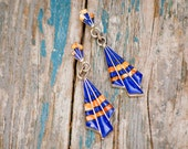 Vintage Sterling Silver Blue Lapis Lazuli & Coral Earrings Geometric Navajo Native American Southwest Tribal Hippie