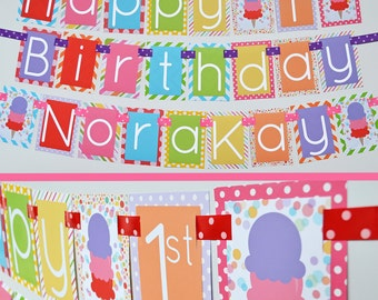 Ice Cream Birthday Party Banner Fully Assembled Decorations | Ice Cream Cone | Girl Ice Cream | Summer Birthday | First Birthday |