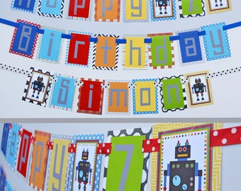Robot Birthday Party Banner Decorations Fully Assembled