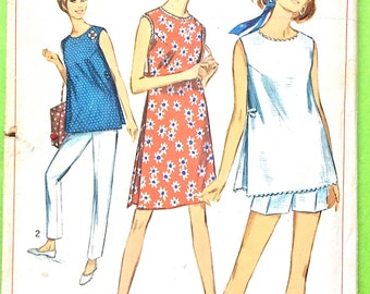 1960s Maternity Dress Pattern or Tunic & Pants or Shorts Simplicity 6551 Inverted Pleats Tapered Pants Pattern Vintage Sewing Bust 34