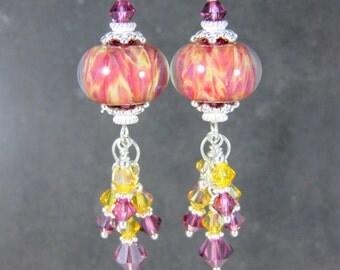 Pink Yellow Glass & Crystal Dangle Earrings, Boho Earrings, Bohemian Jewelry, Boro Lampwork Earrings, Colorful Earrings, Summer Jewelry