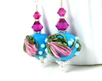Blue Pink Floral Earrings, Botanical Earrings, Nature Jewelry, Dangle Earrings, Lampwork Earrings, Cottage Chic Jewelry Cute Earrings Myrtle