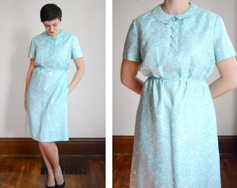 1960s McMullen Blue Floral Dress - M/L
