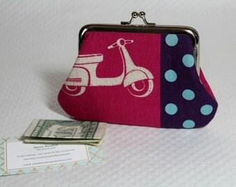 Coin Purse - Change Purse - Pink Coin Purse - Coin Wallet - Coin Pouch -Wallet - Pouch - Pink Scooter Coin Purse