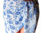 Beach Sarong Mini Wrap Skirt - Women's Clothing Sarong Pareo Wrap Batik Sarong Skirt Chiffon Sarong  Cover Up or Scarf White & Blue Flowers