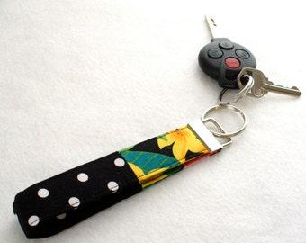 Tropical Hawaiian Floral Black and White Polka Dots Wristlet Key Fob Alexander Henry Fabric Keyring Keychain