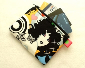 Groovy 70's Tattoo Girl Fabric Business Card Case Coin Purse Fabric Zippered Womens Credit Card Holder Wallet Alexander Henry