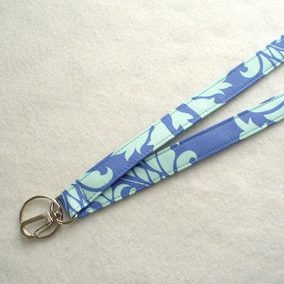 Amy Butler Fabric Lanyard Breakaway Lanyard ID Badge Holder Clip Key Ring Fob Bali Gate Periwinkle Blue Aqua Handmade MTO