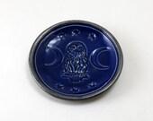 RAKU OWL MOON Bowl Pottery Ceramic