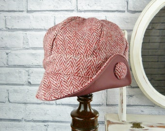 Harris Tweed and Leather Newsboy Hat - Red tweed - womens hat, womens cap