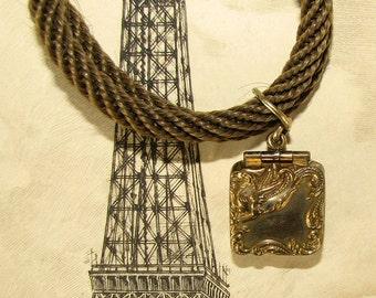 1800s Antique Hair Work Gold Locket Mourning Bracelet