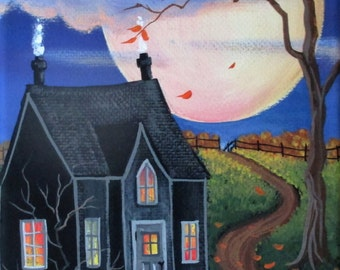 Eerie Moon ORIGINAL Folk Art Painting FREE Shipping