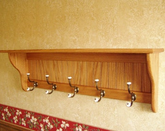"""Oak Hanging Wall Coat Rack with Antique Brass and Porcelain Hooks 42"""" Wide"""