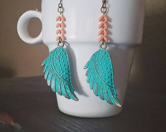 Boho Wing Dangle Earrings Peach Coral Chevron Chain Bohemian  ~ Adelina