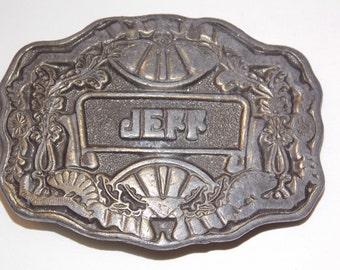 Vintage Brass Jeff Belt Buckle