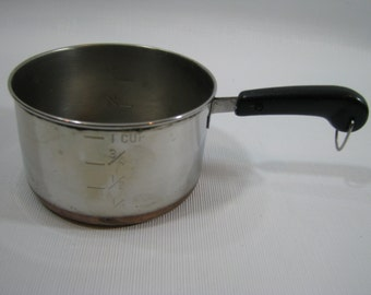 Vintage Revere Ware Stainless Steel 1 Cup Measuring Cup Copper Bottom