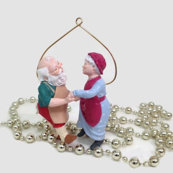 Vintage Christmas Ornament - Mr. & Mrs. Claus Dancing - 1988