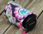 Camera lens case for DSL camera navy paisley print Monogramming Included