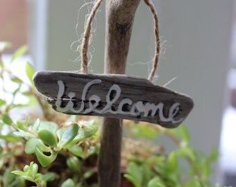 Mini Driftwood Welcome Sign for Fairy Garden and Potted Plants