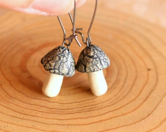 Tiny Ceramic MUSHROOM Earrings - Handmade Textured & Stained Porcelain Mushroom Fungi Earrings - Ready To Ship