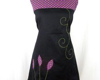 Kyriu black dress and purple with green spots