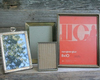 Four Vintage Gold Plated Metal Picture Frames