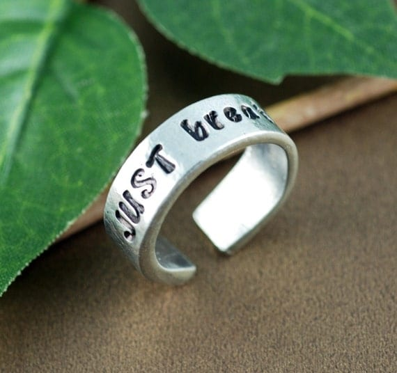 Just Breathe Ring, Inspirational Pewter Ring, Yoga Jewelry, Personalized Pewter Ring, Spiritual Gift for Her, Custom Cuff Ring, Gift for Her