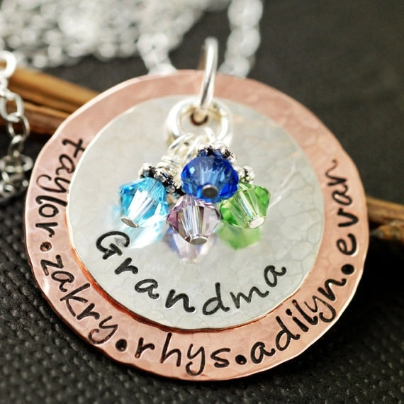 Hand Stamped Necklace - Grandma Necklace - Personalized Jewelry - Birthstone Jewelry - Keepsake Necklace - Mother's Day Gift - Gift for her