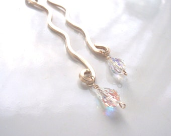 Long Earrings, Gold and Wavy with Swarovski Crystals