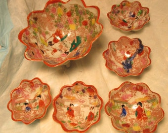 Vintage 7 Piece Set JAPANESE GEISHA Girl Footed Nut Dishes Bowls asian decor lotus