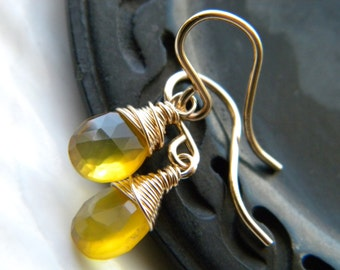 Sunny bright yellow chalcedony semiprecious gemstone earrings - gold filled - handmade wire wrapped jewelry