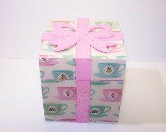 Decorated Box, Pink, Teacups, Pastel, Saucer, Gift Box, Gift for Her, GIft for Him, Trinket Box, Treasure Box, Jewelry Box, Free Shiping
