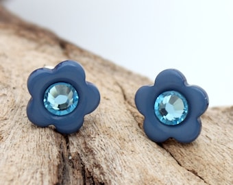 Mini blue flower button earrings with Swarovski crystal rhinestone-  silver plated stud earrings - cute jewelry gift for her