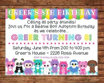 Girl Stuffed Animal Beanie Adoption Party Birthday Invitation - DIGITAL FILE