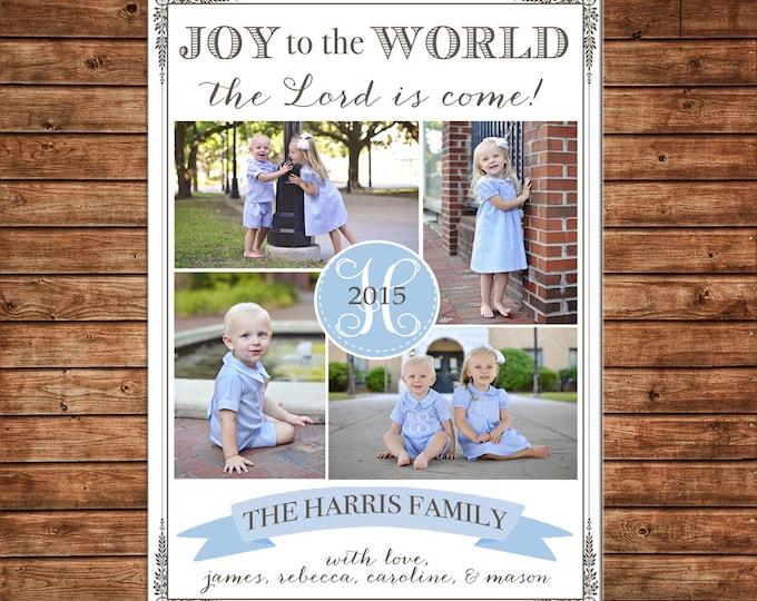 Photo Picture Christmas Holiday Card Blue Grey Monogram Joy to the World Elegant - Digital File