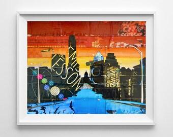 Austin Texas Atx cityscape ART PRINT or CANVAS vintage retro city bats biking poster wall home decor, All Sizes