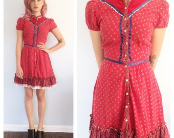 Vintage Red Floral Prairie Mini Babdoll Dress