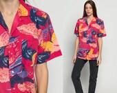 Palm Tree Shirt Hawaiian Blouse PINEAPPLE Print Fruit Shirt Button Up Shirt 80s Tropical Top Vintage Beach Surfer 1980s Pink Extra Large Xl