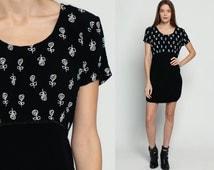 90s Babydoll Dress FLORAL Grunge Mini EMPIRE Waist Black White Scoop Neck 1990s Vintage Boho Short Sleeve Medium